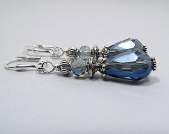 Smokey Blue Crystal Teardrop Earrings, Silver Plated, Drop Earrings, Glass Beaded, Denim Blue,  Lever Back or Hook