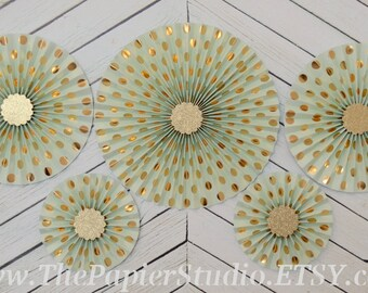 Mint and Gold, Set of Five (5) Paper Rosettes