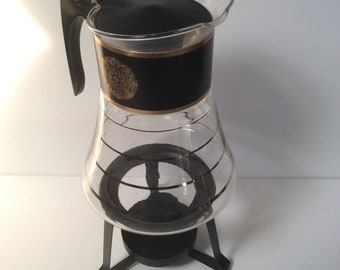 Vintage David Douglas Flameproof Coffee Carafe Coffee Pot Percolator with Warming Stand Mid Century Modern Atomicb Pyrex