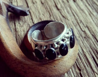 Original Handmade Sterling Silver and Black Coral Statement Ring - Boho Style Black and Sterling Silver Ring -  Coral Ring - Size 7-7.5