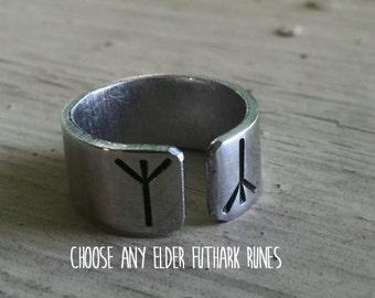 Norse Rune Ring - Viking Jewelry - Silver Rune Ring - Viking Rune Jewelry - Viking Ring Men Women - Custom Runes