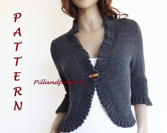 Knitting Pattern Women's Bolero Ruffled Borders Cardigan Women sweater Knit Sweater Instant Download PDF available Only in ENGLISH