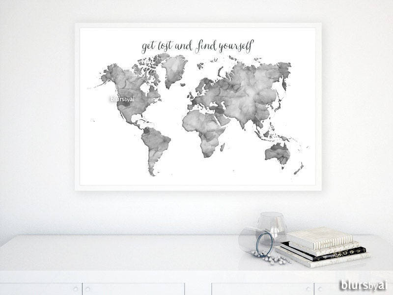 X Black And White Watercolor World Map Printable - Large world map print out
