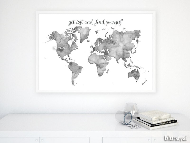 36x24 black and white watercolor world map printable zoom gumiabroncs Gallery