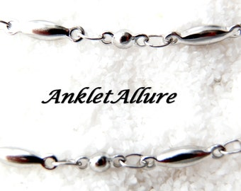 SIMPLE Silver Anklet DOUBLE Chain Ankle Bracelet Beach Proof  Stainless Steel Anklet Choker Necklace Avail