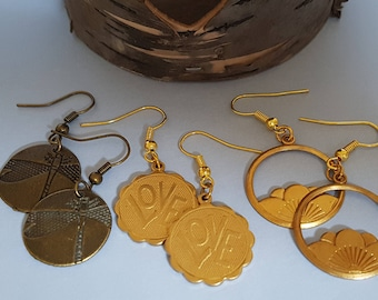 Circular Drop Earrings - Lotus Flower, Love or Dragonfly Brass/Gold Bronze Mothers Day Gift