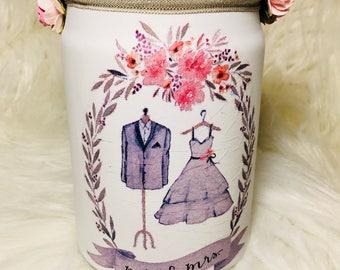 Lighted mason jars, Wedding wish jar, mr and mrs jar, lighted bottles, lighted jars, mason jar, wedding mason jar
