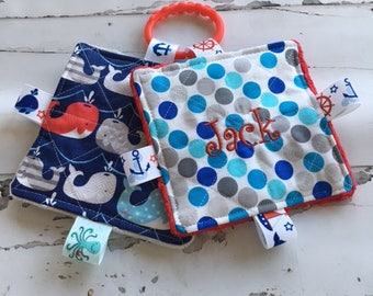 Baby boy toys, sound toys, crinkle sound toys, whale toys, boys teething toys, new baby toys, nautical baby toys, baby shower gifts,