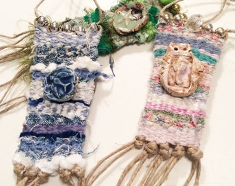 DIY Kit, How-To Tiny Tapestry Necklace,  As Seen in Belle Armoire Jewelry,Textile Weaving, Do It Yourself: Woven Jewelry, DIY, Art Necklace