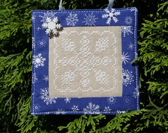 Finished Cross Stitch, Snowflake Ornament, Hanging Ornament, Stitched Ornament, Cross Stitch Ornament, Winter Cross Stitch, Snowflake Button