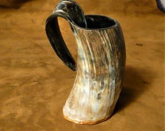 Viking mug, tankard made from cow horn
