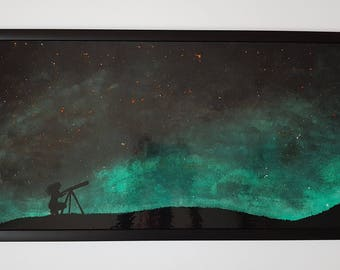 Original painting on plywood, acrylic Space painting, night sky wall art, ready to hang, cosmos painting, Silhouette, wall art, gift
