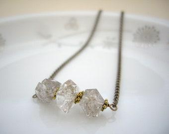 Herkimer diamond necklace, Gemstone bar necklace, Raw crystal necklace, Antique bronze necklace, Boho Minimal jewelry, Layer necklace, OOAK