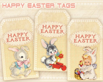 Printable gift tags little frida whimsical gift tags downloadable easter gift tags easter bunnies tags on digital collage sheet printable easter tags negle Choice Image