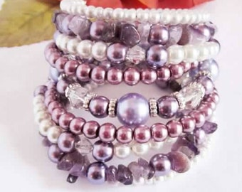 Pearl and Amethyst Bracelet Memory Wire Bracelet February Birthstone Bracelet Purple Stone Stacked Wrap Bracelet Birthday Gift For Her
