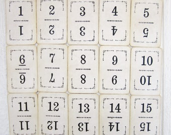 Vintage Number Cards - 1 to 15 Antique Flinch Cards - Wedding Table Numbers
