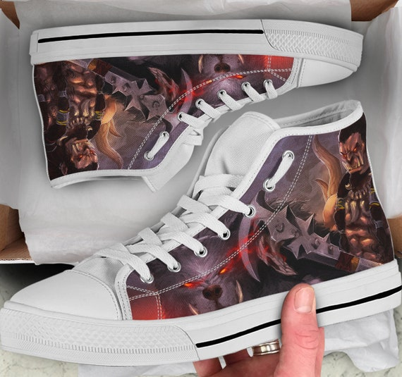 Sneakers Shoes High Men's Looks Shoes Tops like Converse Colorful Warcraft sneakers Shoes of Warcraft World Women's high Tops Warcraft WOW TO6IxnPq