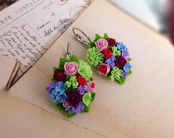 Flowers earrings Rose earrings Pink earrings Summer earrings  Spring earring Cute earrings