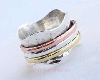 Spinner ring for women, Spinning ring, Silver meditation ring, Anxiety ring, Fidget ring, Handmade Statement ring, Spinner band Silver ring