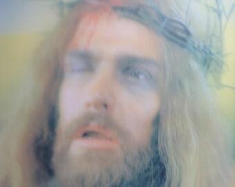 Kitsch Lenticular Jesus.   Camp, Coo Coo.  Eyes Open and Close.  Metal Framed.  Vintage 1970.  Mid Century Modern, Hollywood Regency.