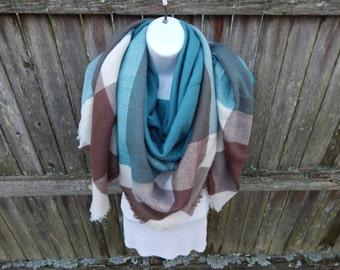 Teal / Brown / White Blanket Scarf