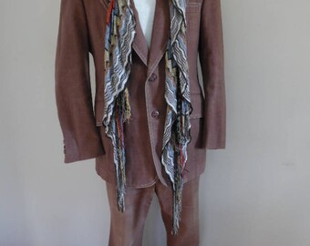 Vintage 1970s Brown Denim Single-Breasted Men's Suit with Peaked Lapels Jacket and Stove Pipe Pants by Robert Alan