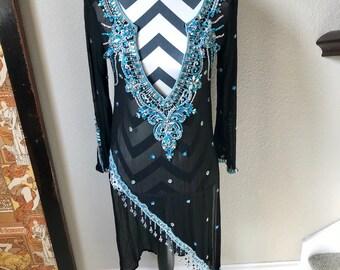 Vintage 1990s Indian Import Sheer Beaded Sequin Boho Hippie Psychedelic Mermaid Dress Sz S