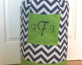 Monogrammed Laundry Duffel Bag, Green, Navy & White Chevron, Laundry Bag, Laundry Bag for College, Hanging Laundry Bag, Laundry Hamper