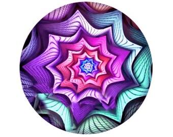 MERZIEs 18mm SNAP swirl design blue purple lavendar button - SHIPs from USA
