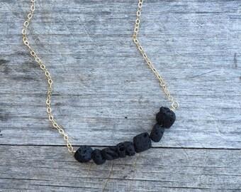 Black Lava Necklace - Matte Black Lava Beads - Black Necklace - Layering Necklace - Lava Necklace -Minimalist Necklace - Black Lava Beads -