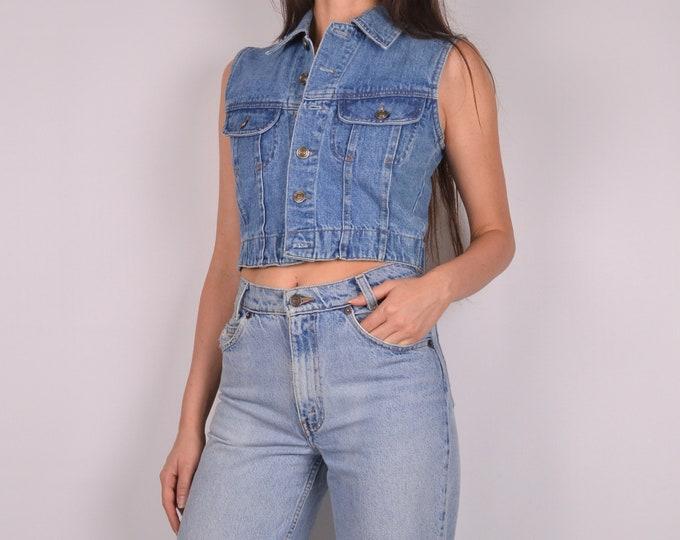 SALE Vintage Denim Crop Vest