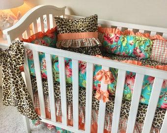 Girl Crib Bedding, Baby Girl Crib Sets, Peach Polka Dot Baby Bedding, Leopard Crib Sets, Coral Floral Crib Bedding