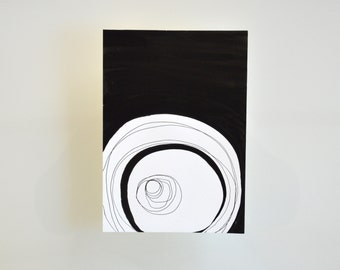 Original A5 abstract ink art drawing, modern black and white abstract art, abstract, ink art, art, ink drawing, circles art, abstract circle