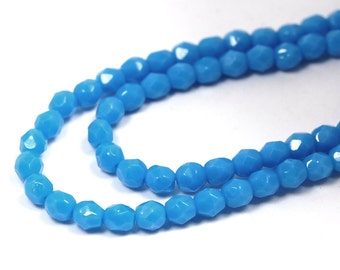 100/pc Opaque Blue Turquoise Czech 4mm Fire-polished Faceted Round Beads