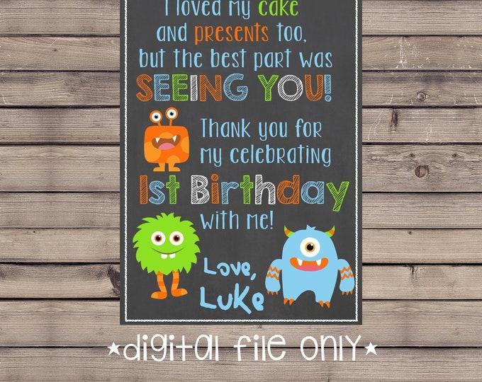 Monster Birthday Thank You / Little Monster Thank You / Monster First Birthday Thank You / Little Monster / Little Monster Thank You Card