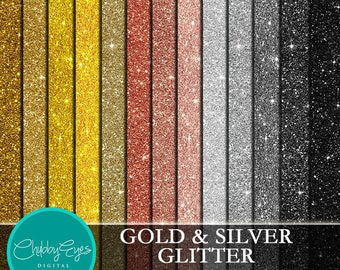 Gold and Silver Glitter Digital Papers, Scrapbook Papers Black Sparkles Clipart , digital background - Instant Download