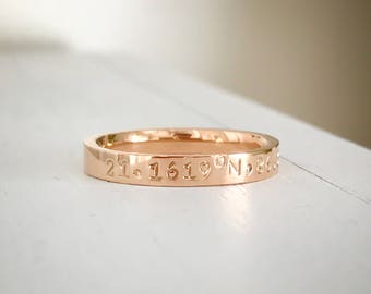 Coordinate Ring Rose gold stainless steel comfort fit ring 3 MM Anniversary Hand Stamped stacking ring Coordinate jewelry