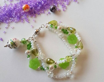 Multiwire bracelet, crystal bracelet, white bracelet, green bracelet, flower bracelet, green flowers, gift for you, Mother's Day