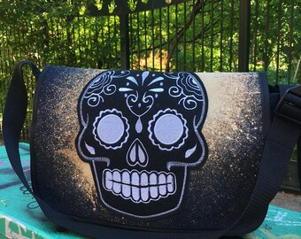Bleach Dyed Black Canvas Courier Bag with Sugar Skull, Messenger Bag, Bookbag