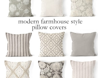 "throw pillow covers,mix and match farmhouse pillow cover 18""x18"", 20""x20"", 22x22 or 24""x24"" tan and cream,beige, neutral colors grey gray"