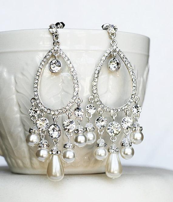 Bridal Earring Wedding Earring Rhinestone Chandelier Earrings