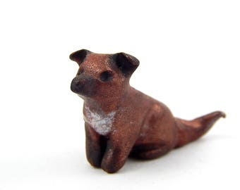 L'il Brown Pup Dog Sculpture, Hand-Sculpted Coppery Brown Puppy, Polymer Clay