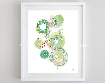 Labyrinth- -delicate contemporary mixed media art, watercolor nature, nature lovers, art print