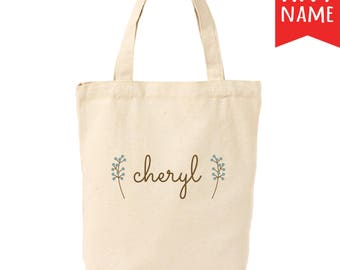 Sage Branches Canvas Tote Bag   Personalized Canvas Tote Bag   Custom Canvas Tote Bag