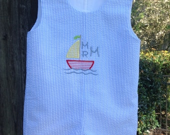 Boys jon-jon, romper, bubble, seersucker shortall, sailboat, FREE Monogram, Shortall, matching, siblings, boys, toddlers, classic romper