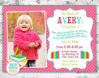 Book Worm Birthday Invitation - Book Theme Birthday Invitation - Printable Invitation - Digital File - Book Party - Digital Invitation