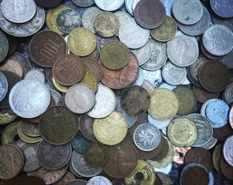 Foreign Coin Set - vintage coins and tokens from travels - foreign currency - old coin assortments - coin charm - vintage token old coins