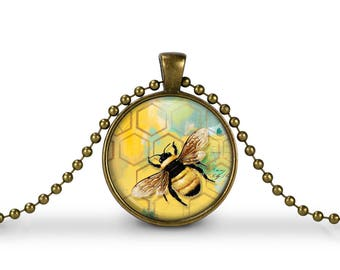 Bee with Honeycomb Design  / 30mm Antique Gold Glass Pendant Necklace or Key chain