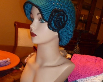 made to order turquoise flower hat