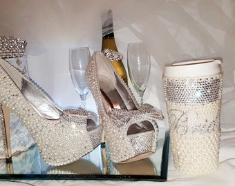 Wedding Heels, Bridal Shoes, Diamond and Pearl Wedding Heels, Crystal Heels, Wedding Shoes, Bridal heels,Prom, Pageant